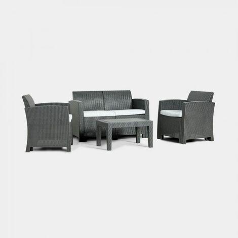 Vonhaus All Weather Rattan Sofa Set 4 Seater Garden Outdoor Decking