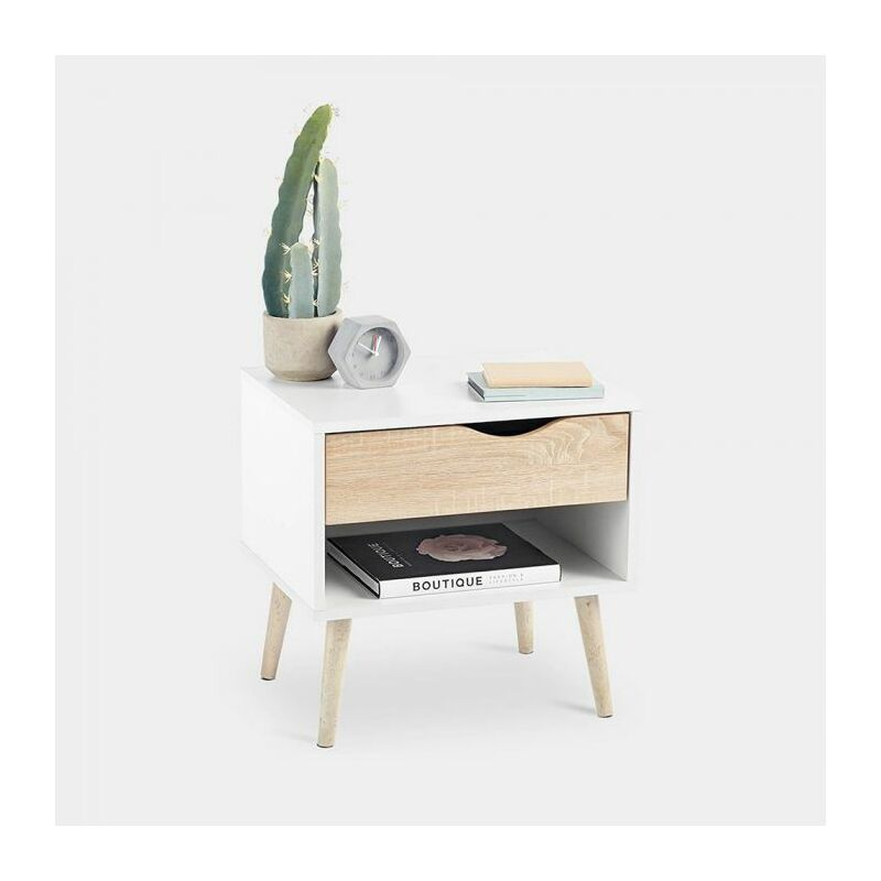 best authentic f5901 403a8 VonHaus Bedside Table Scandinavian Nordic Style - White and Light Oak  Effect with Tapered Legs Nightstand with Drawer - Modern, Contemporary  Bedroom ...