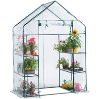 VonHaus Compact Walk In Greenhouse with 6 Shelves