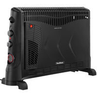 VonHaus Convector Heater 2000W Black - With Turbo Fan, Adjustable Thermostat, 3 Heat Settings & Timer - Free Standing with Safety Thermal Cut off Feature