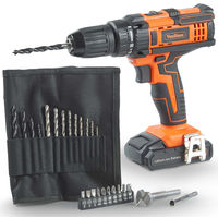 VonHaus Cordless 18V Drill Driver with 1500mAh Li-ion Battery, Charger, 26pc Drill Bit Set - 35Nm Torque with LED Work Light Two Speed Transmission & Forward / Reverse Functionality