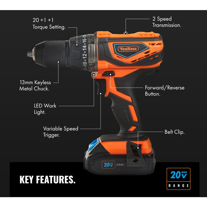 VonHaus Cordless Drill Driver with 2 0Ah Li-ion 20V MAX Battery, Charger,  13pc Bit Set & Power Tool Bag - Hammer Function, LED Work Light and  Variable