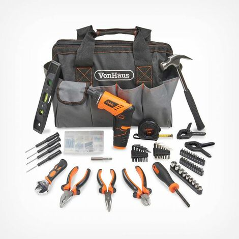 VonHaus Cordless Electric Screwdriver and Household Tool Set 94pc - Includes 3.6V/Cordless Lithium-ion Screwdriver with Bit Set & Hand Tool Kit