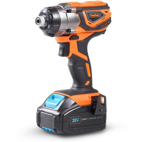 VonHaus Cordless Impact Driver with 3.0Ah Li-ion 20V MAX Battery, Charger & Power Tool Bag - Includes Direction Control & Variable Speed Trigger (¼'' Hex Drive, 120Nm Torque)