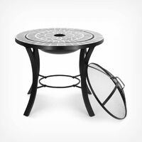 VonHaus Dark Grey Mosaic Fire Pit/Coffee Table with BBQ Grill - Garden Brazier Bowl for Cooking & Patio Heating