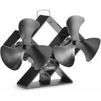 VonHaus Double Stove Fan - Twin Blades for Increased Circulation - for Wood/ Log Burners - Portable Two Self Powered 6-Blade Stove Fan - Quiet & Eco-Friendly With 250 - 320 CFM