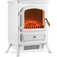 VonHaus Electric Fireplace Stove Heater with Flame Effect White, 1850W - Portable Freestanding Fire Place Log Burner Light
