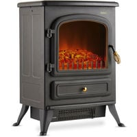 VonHaus Electric Stove Heater with Log Burner Flame Effect - 1850W, Black - Freestanding Fireplace with Wood Burning LED Light