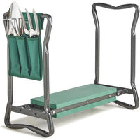 VonHaus Garden Kneeler/Seat with 3Pc Tool Set and Bag Included - Foldable Kneeling Stool, Trowel, Fork, Rake & Storage Pouch