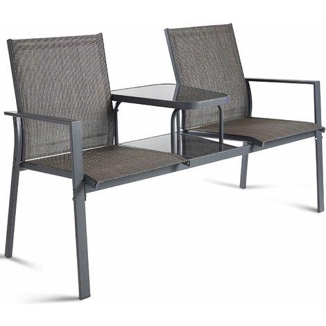 Excellent Vonhaus Garden Loveseat Patio Textoline Duo Seat With Short Links Chair Design For Home Short Linksinfo