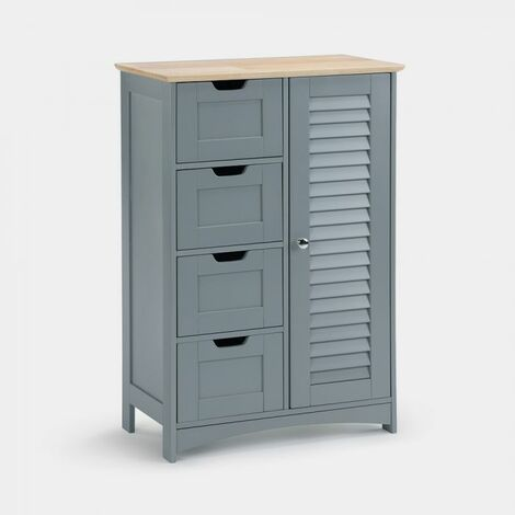 Vonhaus Large Bathroom Cabinet Solid Wood Top Shutter Style Floor Standing Storage Unit