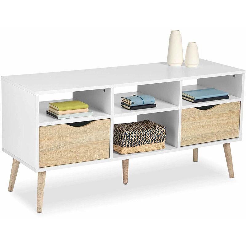 finest selection bd5d3 0b0d2 VonHaus Large TV Unit / Coffee Table Scandinavian Nordic Style - White and  Light Oak Effect TV Stand, Media Unit, Entertainment & Console Table - ...