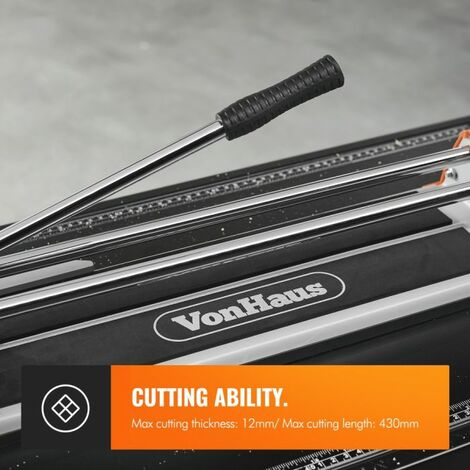 VonHaus Manual Tile Cutter 430mm – Tungsten Carbide Scoring Wheel – Straight Edge Accurate Measurement Guide – Cuts Ceramic, Glazed Floor & Wall Tiles
