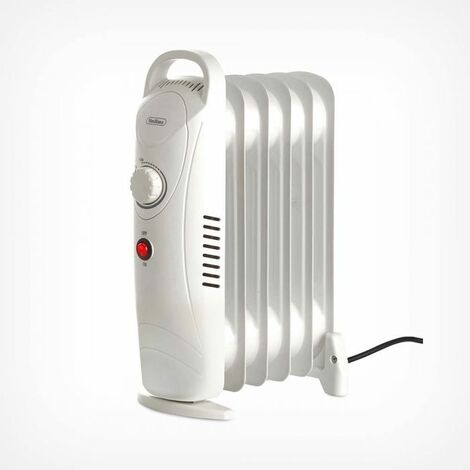 VonHaus Mini Oil Filled Radiator 800W 6 Fin - Portable Electric Small Heater - Adjustable Temperature & Tip Over Safety Switch - White