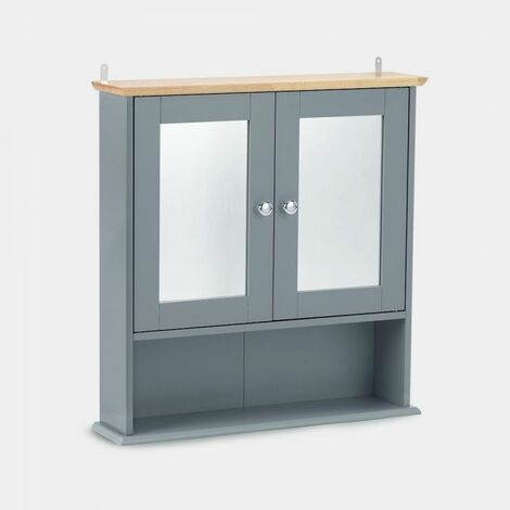 VonHaus Mirrored Bathroom Cabinet - Solid Wood Top ...