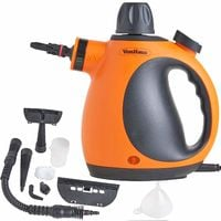 VonHaus Multi-Purpose Handheld Steam Cleaner | Corded Lightweight Steamer for Upholstery, Wallpaper, Tiles, Clothes | 250ML Tank | Includes Mop and Glass Attachment, Round Brush and Extension Hose