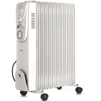 VonHaus Oil Filled Radiator 11 Fin, 2500W, 3 Power Settings, Adjustable Thermostat, Thermal Safety Cut off & 24 Hour Timer