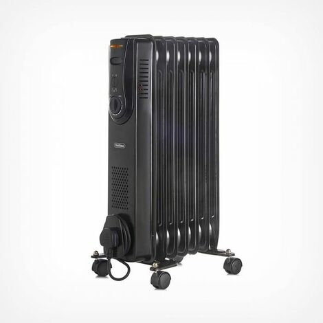 VonHaus Oil Filled Radiator 1500W 7 Fin - 3 Power Settings, Adjustable Thermostat & Tip Over Safety Switch - Black