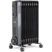 VonHaus Oil Filled Radiator 2000W 9 Fin with 3 Heat Settings & Adjustable Thermostat - Black