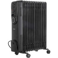 VonHaus Oil Filled Radiator 2500W 11 fin - 3 Power Settings, Adjustable Thermostat, Thermal Safety Cut off & 24 Hour Timer - Black…
