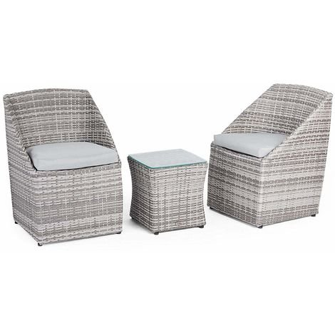 Vonhaus Rattan Bistro Set 2 Seater Coffee Table And Chairs