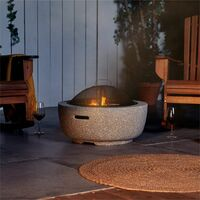 VonHaus Round MgO Fire Pit Bowl with BBQ Grill Rack, Spark Guard & Poker - Outdoor Magnesium Oxide Garden Patio Heater / Burner for Wood & Charcoal
