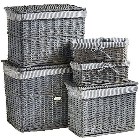 VonHaus Set of 5 Natural Wicker Storage Baskets and Trunks   Display Hamper and Storage for Bathroom, Living Room, Kitchen or Lounge   Decorative Gift Boxes w/ Removable, Washable, Striped Lining
