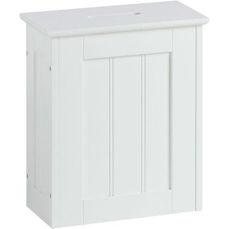 VonHaus Slimline Storage Hamper - White Colonial Style Toilet Paper Storage Unit for the Bathroom