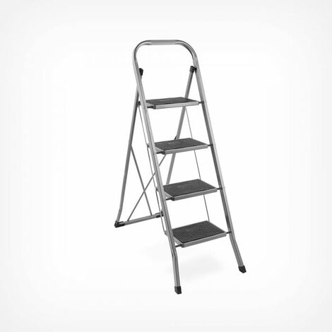 3 Step Ladder Non Slip Steps Feet Heavy Duty Steel 150kg Load Capacity Portable Foldable Kit For Home Kitchen Garden Diy Tool Building Supplies Ladders