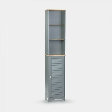 VonHaus Tallboy Cabinet - Solid Wood Top - Shutter Style Large Slimline Storage Unit - Cupboard with Shelving - Modern Grey Bedroom or Bathroom Furniture