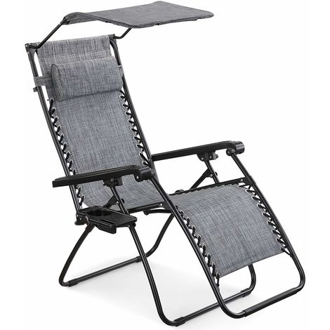 VonHaus Textoline Zero Gravity Chair with Canopy - Outdoor Lounger Shade Chair with Drinks Holder