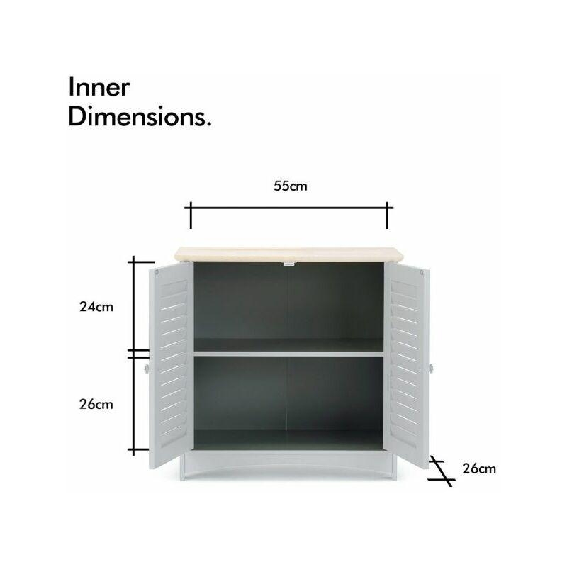 Bathroom Under Sink Cabinet Wooden White 2 Door Storage Cupboard Unit Christow