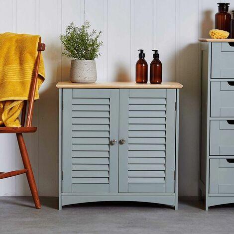 Vonhaus Towel Cabinet Solid Wood Top Shutter Style