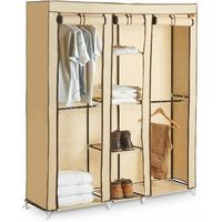 VonHaus Triple Canvas Effect Wardrobe - Clothes Storage Cupboard with 4 Shelves & 4 Hanging Rails - Beige (H175 X W150 X D45cm)