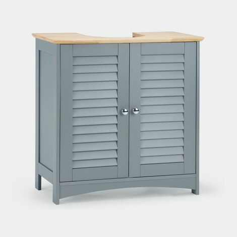 Vonhaus Under Basin Cabinet Solid Wood Top Shutter Style Cupboard Storage Unit With Double