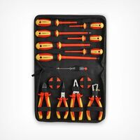 VonHaus VDE Screwdrivers and Pliers Hand Tool Set 15 Pcs – Insulated Handles, For Safe Electrical Work, Computer, Automotive Repairs, 1000V VDE Tested | Includes Voltage Tester & Tape