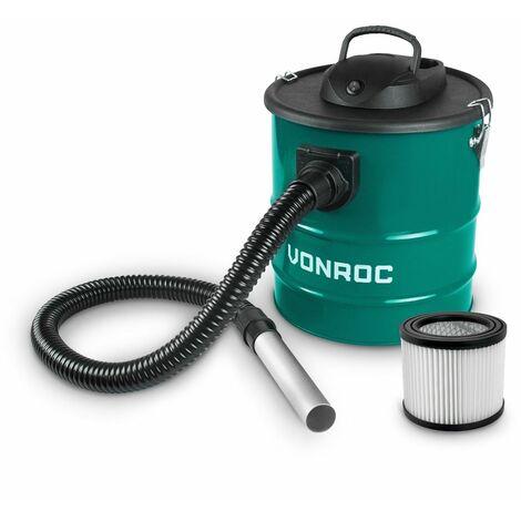 VONROC Aspirador de cenizas 1600W - Tanque de 20L - Cable de alimentación de 3m - Para chimenea, barbacoa y taller