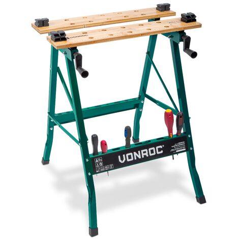 """main image of """"VONROC Banco da lavoro in legno di bambù, portata 150 kg"""""""