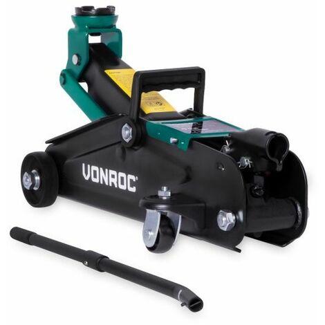 VONROC Gato de coche - 2 toneladas - Máx. 33 cm. - Incluye varilla de elevación larga