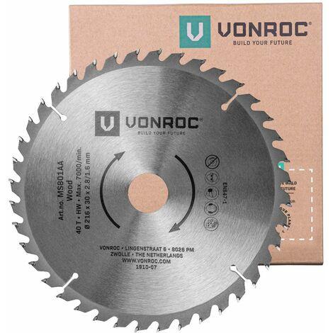 """main image of """"Hoja de sierra universal VONROC 216mm - 40 dientes - para madera - adecuada para ingletadoras y sierras de mesa."""""""