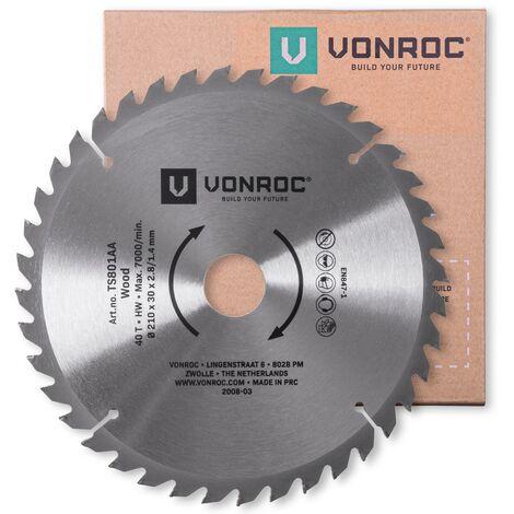 """main image of """"VONROC Lama per sega 210 x 30 mm - 40 denti. Per legno. Adatto per seghe da banco e troncatrici"""""""