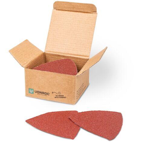 """main image of """"VONROC Set 50 pezzi carta abrasiva senza buchi. Per levigatrice a delta e utensile multiuso 82 mm."""""""