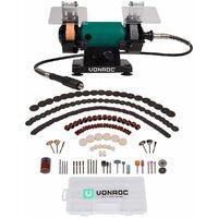 VONROC Set complet touret à meuler multifonction 150W – tige flexible de 75mm – 192 accessoires inclus