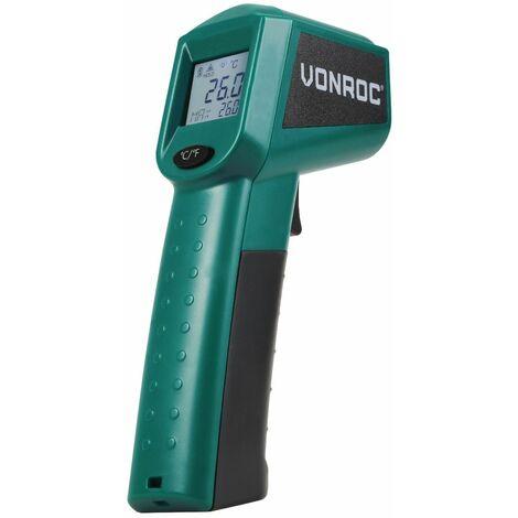 VONROC Termómetro por infrarrojos digital con láser – rango de medición de -40°C a 530°C – incluye 2 pilas