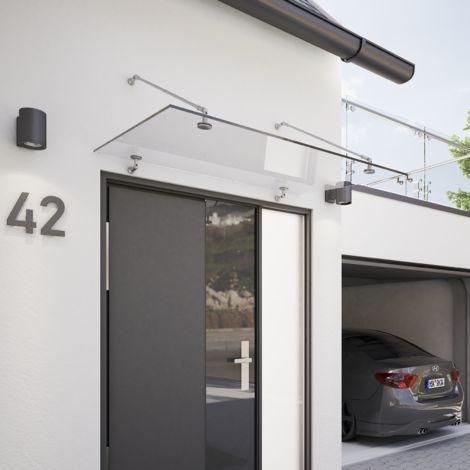 Vordach Glas Glasvordach VSG Echtglas Edelstahl Überdachung Türdach 1400x907