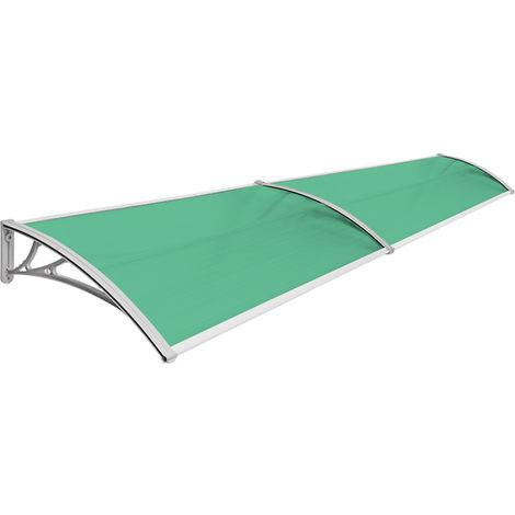 Vordach Haustür Terrassentür Überdachung Haustürdach Pultvordach Alu Kunststoff 240 x 80 cm Grün V2Aox