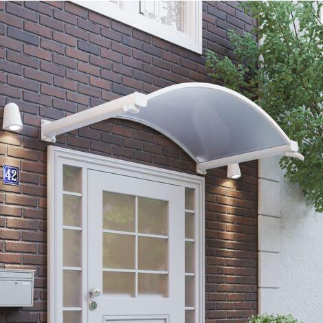 Vordach Haustürdach Alu weiß Polycarbonat klar 1600x900 Türdach