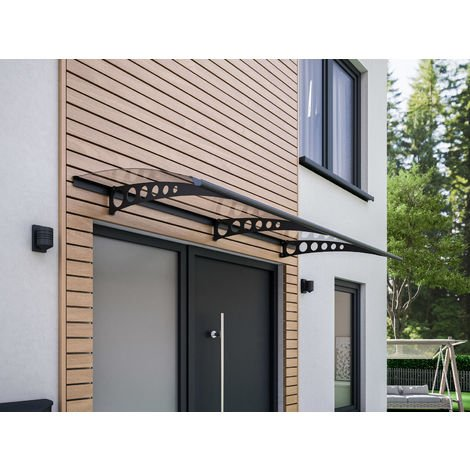 Vordach Haustürdach anthrazit Polycarbonat klar 2000x900 Überdachung Türdach