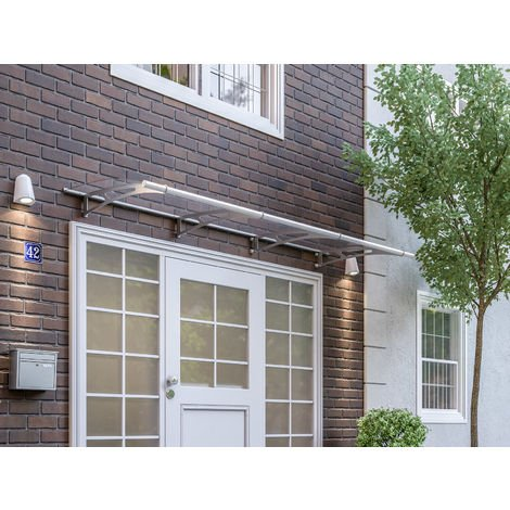 Vordach Haustürdach Edelstahl Acrylglas klar 2700x950 Überdachung Türdach