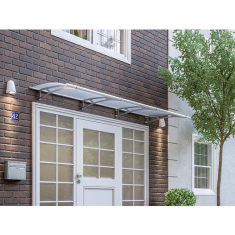 Vordach Haustürdach Edelstahl Acrylglas satiniert 2700x950 Überdachung Türdach